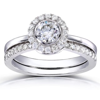 Annello by Kobelli 14k White Gold 3/4ct TDW Round-cut Halo Diamond Bridal Set