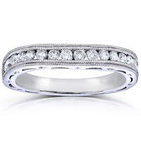 Annello by Kobelli 14k White Gold 2/5ct TDW Channel Set Curved Diamond Wedding Band