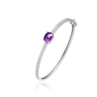Collette Z Sterling Silver Purple and White Cubic Zirconia Bangle