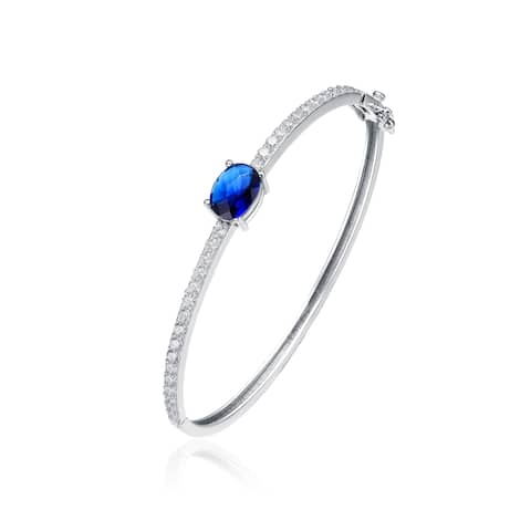 Collette Z Sterling Silver Blue and White Cubic Zirconia Bangle