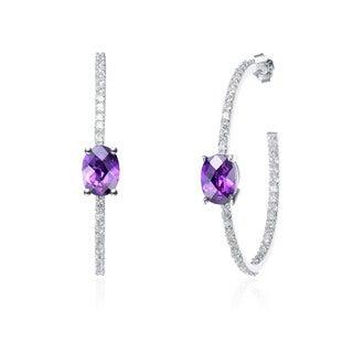 Collette Z Sterling Silver Purple and White Cubic Zirconia Hoop Earrings