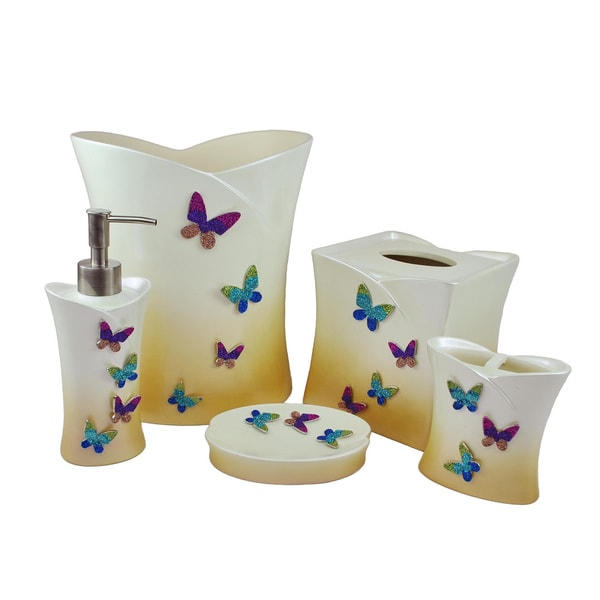 Shop Sherry Kline In Flight Butterflies 5 Piece Bath
