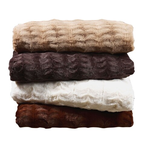 Super Soft Embossed Faux Fur Throw Blanket