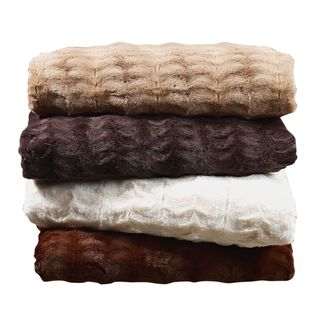Super Soft Embossed Faux Fur Throw Blanket - 3 Sizes