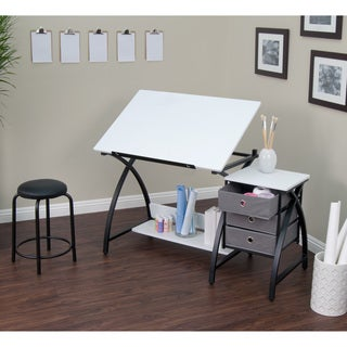 Studio Designs Comet Black/White Drafting Hobby Craft Table with Stool