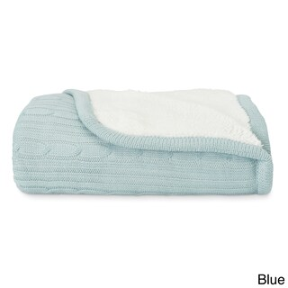 Brielle Cozy Cable Knit Reversible Sherpa Throw