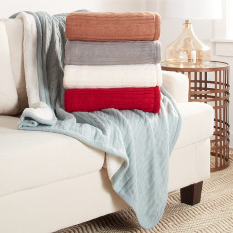 Brielle Home® Cozy Cable Knit Reversible Sherpa Throw