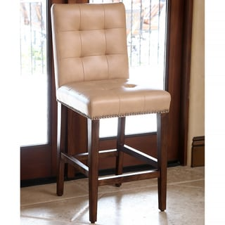 Abbyson Monica Pedersen 30-inch Camel Tufted Leather Bar Stool
