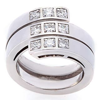 Pre-owned Cartier 18k White Gold 3/4ct TDW Diamond Cross Over Estate Ring (Size 5.5)|https://ak1.ostkcdn.com/images/products/9419170/P16606227.jpg?impolicy=medium