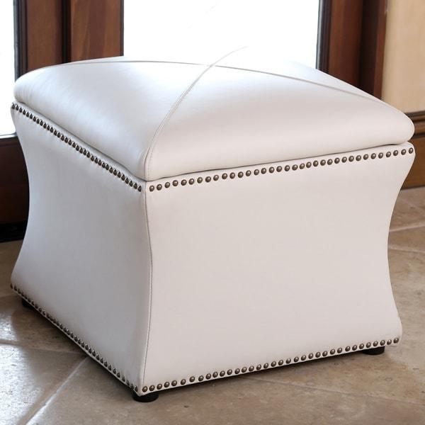 Abbyson Monica Pedersen Ivory Leather Storage Ottoman