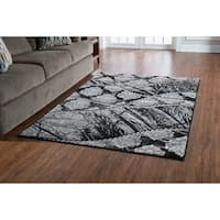 Linon Jewel Grey/ Black Area Rug (5' x 7'6) - 5' x 7'6