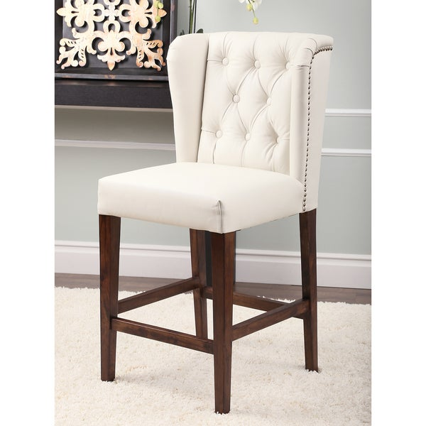 Abbyson Monica Pedersen Ivory Tufted Leather Bar Stool