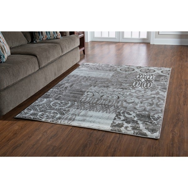 Linon Jewel Dark Grey Black Area Rug 5 X27