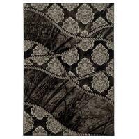 Linon Jewel Brown/ Black Area Rug (2' x 3')