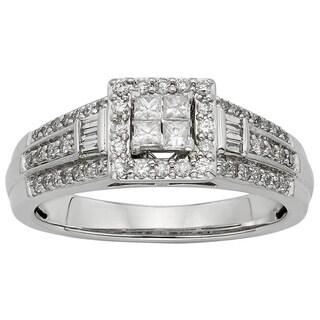 Sofia 10k White Gold 1/2ct TW Diamond Engagement Ring