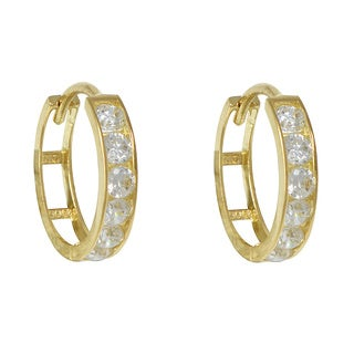 10k Yellow Gold Channe-set Cubic Zirconia Hoop Earrings