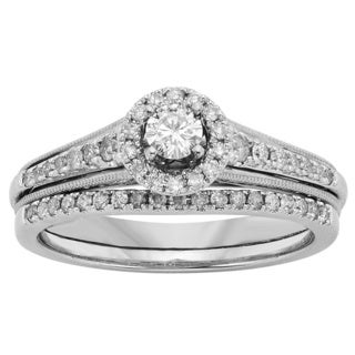 Sofia 10k White Gold 1/2ct TW Diamond Bridal Set (H-I, I1-I2)