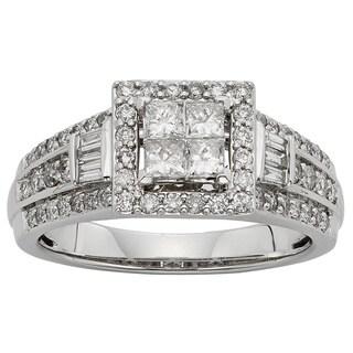 Sofia 10k White Gold 1ctTW Diamond Engagement Ring