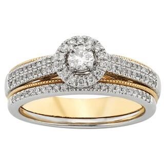 Sofia 10k Two-tone Gold 1/2ct TDW Diamond Bridal Set (H-I, I1-I2)