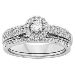 Sofia 10k White Gold 1/2ct TDW White Diamond Bridal Set