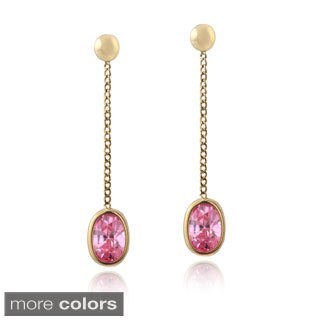 ICZ Stonez 14k Yellow Gold Pink or Clear Cubic Zirconia Dangling Earrings