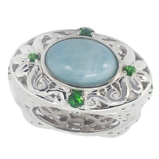 Dallas Prince Sterling Silver Milky Aquamarine Chrome Diopside Filigree Ring
