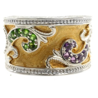 Dallas Prince Two-Tone Amethyst and Chrome Diopside Ring