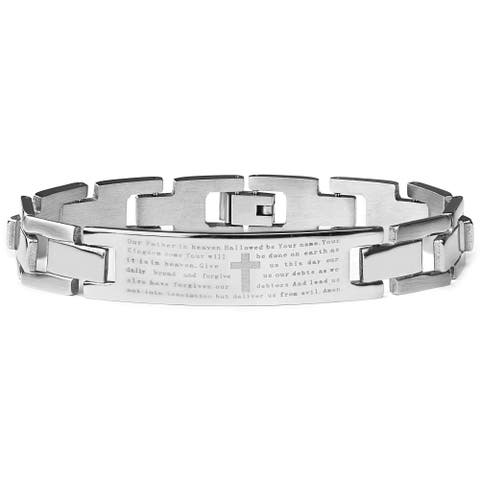 Stainless Steel Men's Etched Lord's Prayer ID Link Bracelet