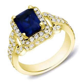 Auriya 14k Gold Vintage 1ct TDW Radiant-Cut Sapphire and 1ct TDW Halo Diamond Engagement Ring