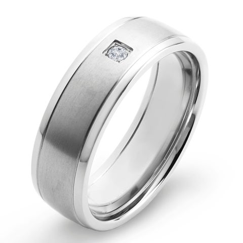 Crucible Dual Finish Titanium 0.03 CTTW Diamond Grooved Comfort Fit Ring - 7mm Wide