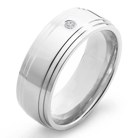 Crucible Polished Titanium 0.03ct. TW Diamond Ridged 8mm Wide Comfort Fit Band (H-I, SI1-SI2)