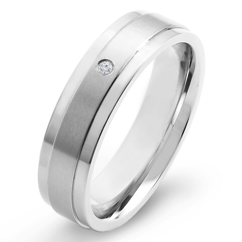 Crucible Men's Dual Finish Titanium 0.02ct. TW Diamond 6mm Wide Comfort Fit Ring (H-I, SI1-SI2)