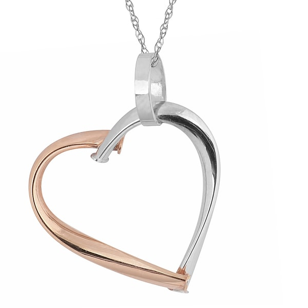 Fremada 10k Two-tone Gold High Polish Heart Pendant on Delicate Rope Chain Necklace