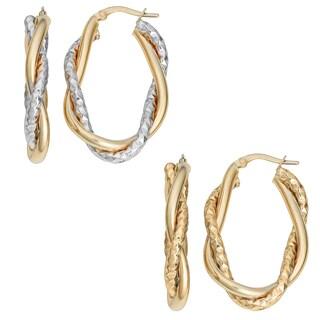 Fremada 10k Gold Interwined High Polish and Diamond-cut Oval Hoop Earrings