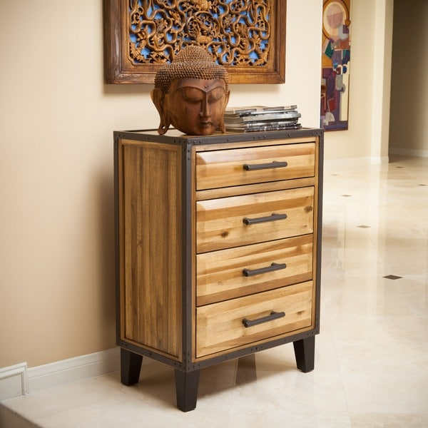Luna Acacia Wood 4-drawer Chest by Christopher Knight Home - Brown