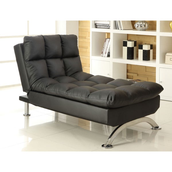 Furniture of america pascoe bicast leatherette convertible for Chaise convertible