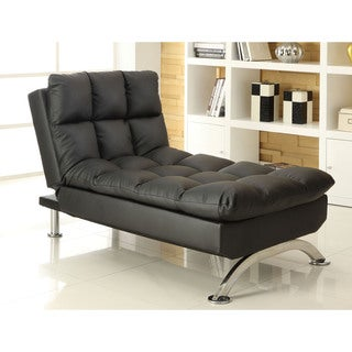 Furniture of America Pascoe Bicast Leatherette Convertible Chaise