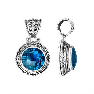 Handmade .925 Sterling Silver Bali Round Gemstone Pendant (Indonesia)