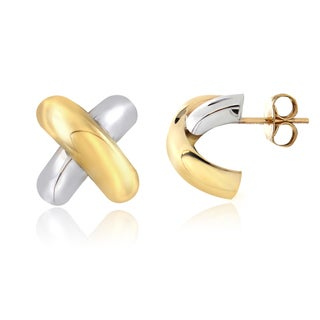 Mondevio 14k Two-tone Gold X Stud Earrings