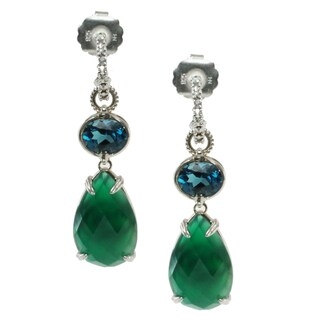 Dallas Prince Sterling Silver Green Agate, London Blue Topaz and Marcasite Earrings