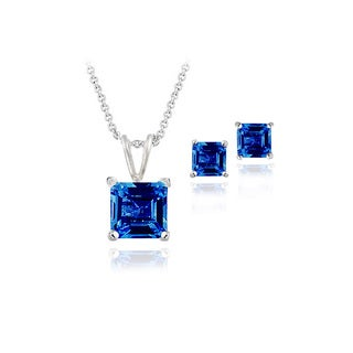 Glitzy Rocks Sterling Silver Created Sapphire Square Solitaire Pendant and Stud Earring Set
