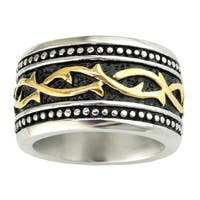 Stainless Steel Men's Ring with Gold Ion-plated Accent