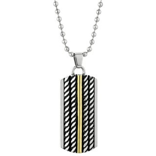 Stainless Steel Ion-plated Rope Accent Tag Pendant