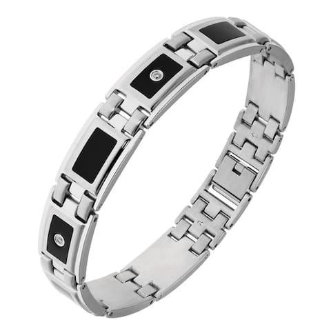 Stainless Steel 1/8ct TDW White Diamond Black Resin Accent Bracelet (H-I, I2-I3)