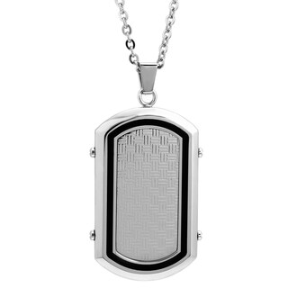 Stainless Steel Woven Black Resin Dog Tag Pendant