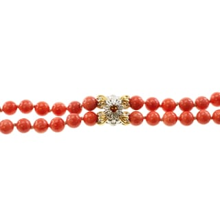 Michael Valitutti Two-tone Salmon Coral and Madiera Citrine Double-strand Bracelet