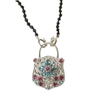 Dallas Prince Gold over Silver Multi-gemstone 'Lock' Necklace|https://ak1.ostkcdn.com/images/products/9419833/P16606753.jpg?impolicy=medium