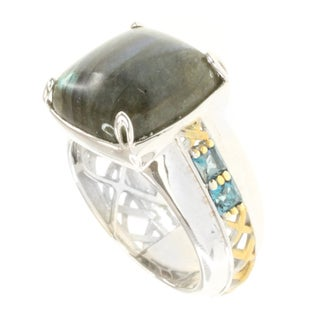 Michael Valitutti Men's Two-tone Labradorite and London Blue Topaz Ring