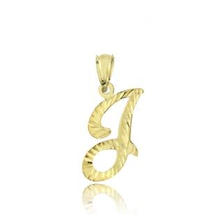 Mondevio 14k Yellow Gold Cursive Initial Pendant Necklace