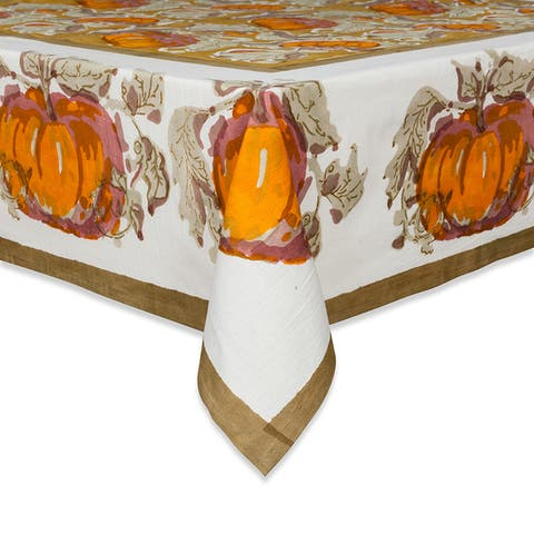 Couleur Nature Pumpkin Harvest Square Cotton Tablecloth